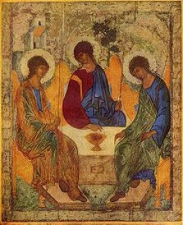 Russian icon of the Holy by Andrey Rublev, between 1408-25, also known as The Hospitality of Abraham