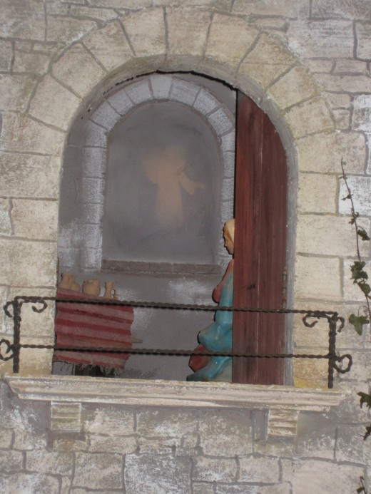 The apparition of the Angel Gabriel to the Virgin Mary.