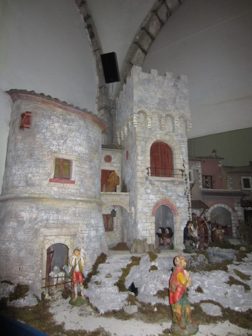 The Nativity scene (left side). Exhibited in the Church of St. Mary of Annunciation - Amaseno, Italy.