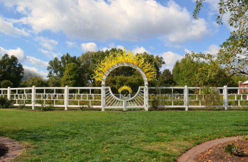 Photo 10 - A Rose garden encircled with white fences in a circular shape.  I love the added Dale Chihuly glass art.