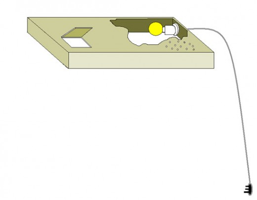 light and heating unit showing trap-door to regulate temperatures from a 40 watt bulb