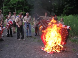 Flag burning ceremony held by American Legion in conjunction with Boy Scouts