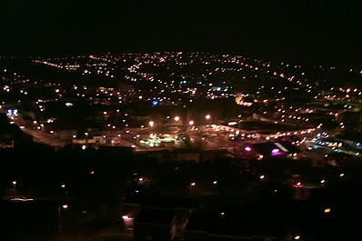 Keighley at night from the top of a hill.