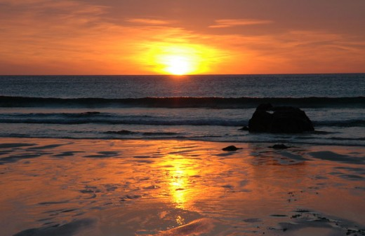 Summer sunset over Porthmeor beach