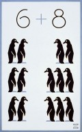 Poster promoting education and civic activity, showing two columns of penguins, six on the left, eight on the right.