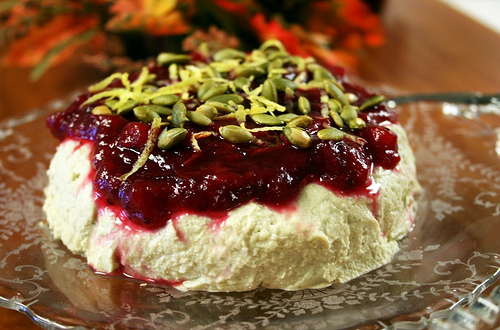 Cashew Pumpkin Seed Cheese with Apple Cranberry Sauce