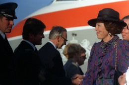 Queen Beatrix of the Netherlands is welcomed upon arrival for a visit to the United States, 1982