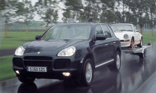 Porsche Cayenne Towing a 1973 911 RS