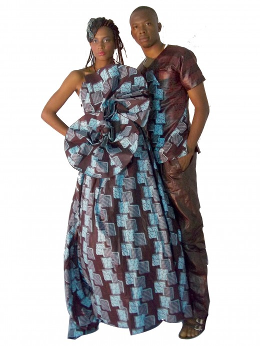 Combination of Nigerian print and silk for a couple outfit. Combination of brocade and Nigerian print for couple outfit, using ancara for a dinner wear and combination of brocade and Nigerian print for couple outfit