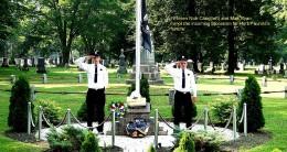 Grandson, as volunteer firefighter, attending a memorial service.