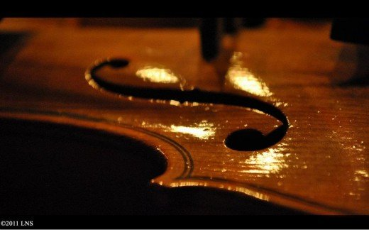 Macro shot of a violin