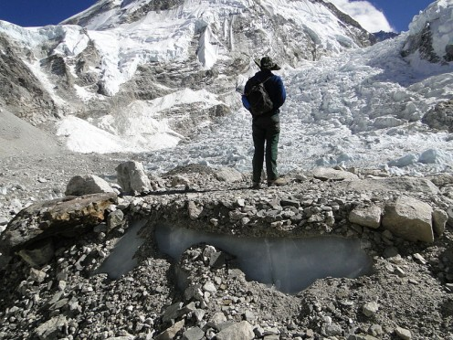 A tent platform on the Khumbu glacier at South Base Camp. The Khumbu icefall can be seen in the background.