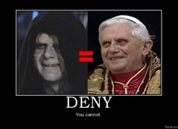 Some people see vague similarities between Darth Sidious and the Pope