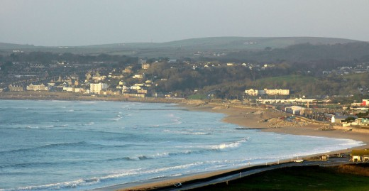 View across Longrock and Eastern Green beach towards Penzance