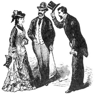 A man tipping his hat to a lady was considered a respectful act to display gentlemanly behavior.