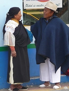 Otavalo man and woman in traditional dress