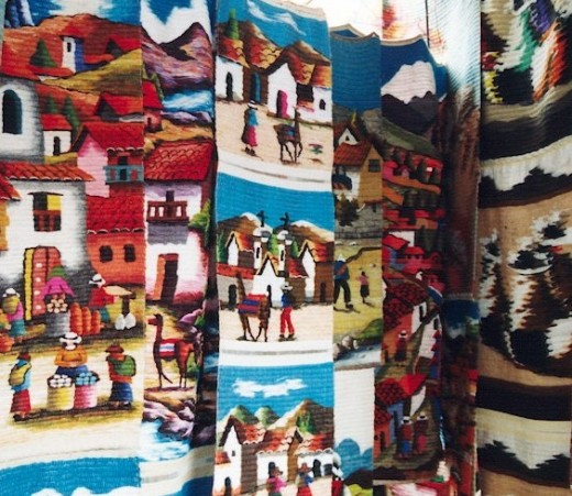 Textiles for sale in the Otavalo Market
