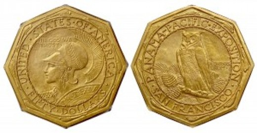 Above is the octagon version of this gold coin.  A photo of the round version begins this article.