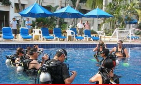 Before diving in the open water, scuba diving training involves various skills training done in a confined space such as swimming pools.