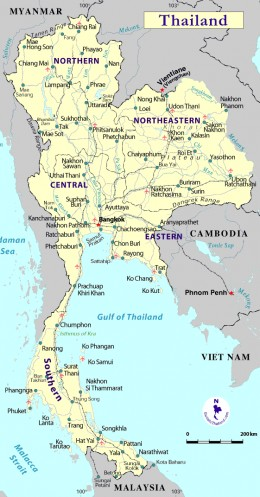 Map of Thailand with Major Regions