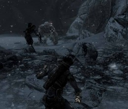 Skyrim Attempting to Defeat the Frost Troll