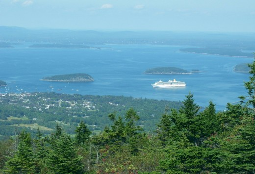 View atop Cadillac Mountain overlooking Bar Harbor and the Porcupine Islands 1530 ft. elevation