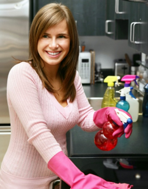 Woman in Gloves.  Pink Gloves never looked so good.