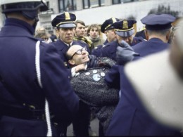 Police Restraining Demonstrator During Anti-War Protests on Day of President Nixon's Inauguration