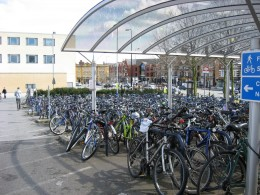 Bicycle parking next to the rail station in Oxford