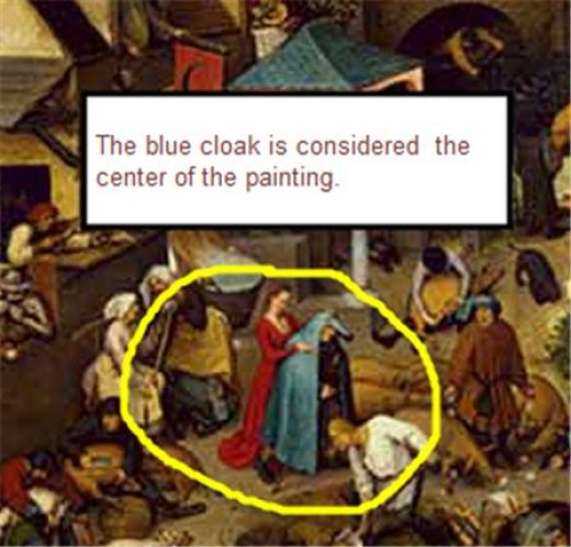 The blue cloak is considered central to the painting and represent deception.