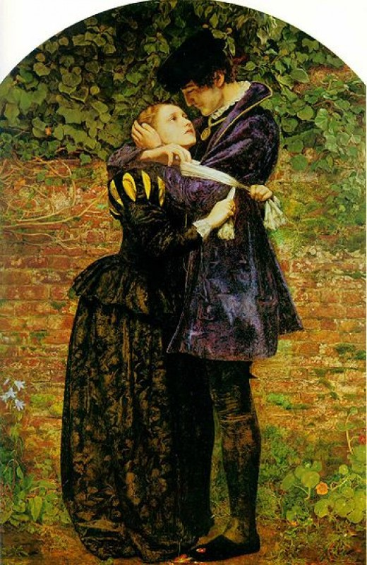Huguenot lovers on St. Bartholomew's Day, by artist John Everett Millais, 1852.  Source: Англоязычная википедия, Public Domain, via Wikimedia Commons.