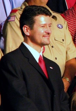 Todd Palin at the announcement of Sarah Palin as the VP candidate