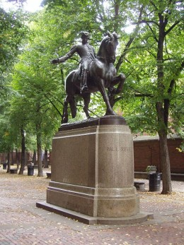 Statue of Paul Revere by Cyrus E. Dallin, in the Paul Revere Mall, North End, Boston, Massachusetts. Photograph taken by Daderot , September 2005.