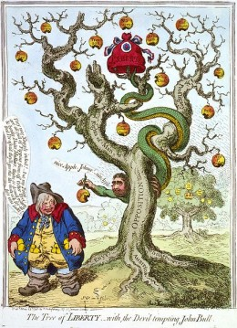 The Tree of LIBERTY, – with, the Devil tempting John Bull: A caricature by James Gillray, showing Charles James Fox as Satan, tempting John Bull with the rotten fruit of the opposition tree of Liberty. John's pockets are already full with the golden