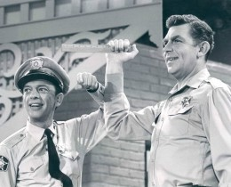 Publicity photo of Andy Griffith and Don Knotts from a Jim Nabors television special. Griffith and Knotts revive their Andy and Barney roles for a skit on the show.