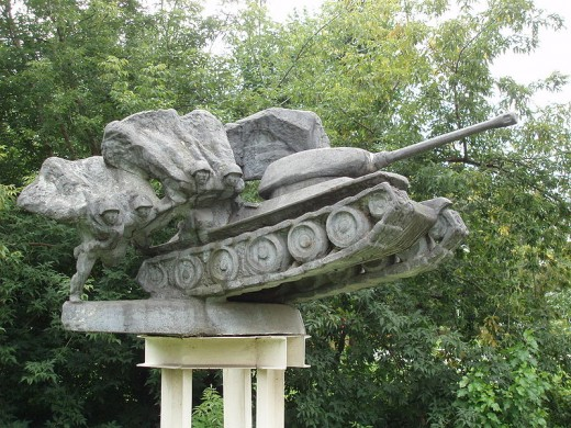 Statue of tank in Gorky Park. The tank seems to be a combination of T-34 and IS-2 tanks.