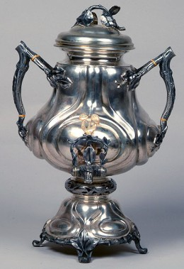 Mid-19th century Russian silver samovar. Gift given to President Nixon from His Excellency Leonid I. Brezhnev, General Secretary of the Communist Party of the Soviet Union.