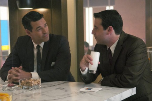 "The guys bond over drinks at ""The Playboy Club."""