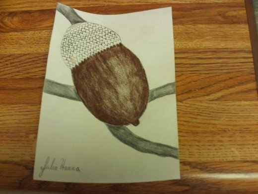 Here I have finished colored in the chocolate brown shell of my acorn.