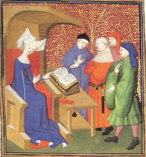 Christine de Pisan lecturing a group of men, Author/Artist Unknown, Public Domain, via Wikimedia Commons.