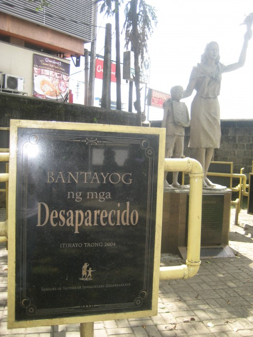 The Park of Desaparecido (those Filipinos who vanished without a trace) inside the lawn of Redemptorist church, Baclaran, Paranaque, Philippines