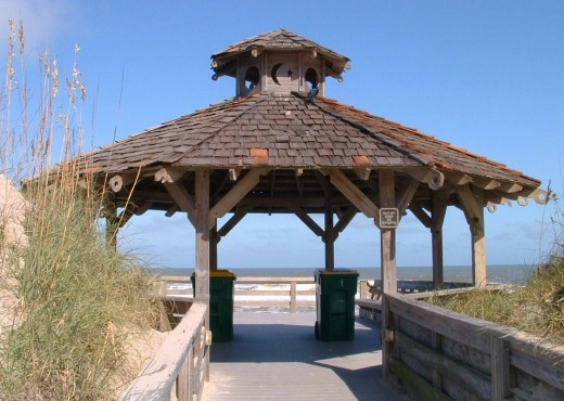 Gazebo beach entrance in Outer Banks, NC.