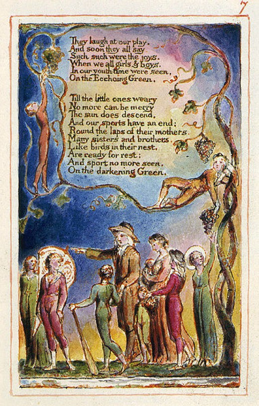 """One of William Blake's engraved pages:  """"The Echoing Green."""""""