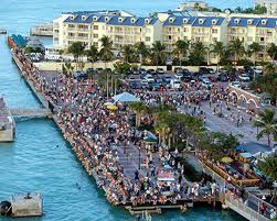 Overhead view of the crowds of visitors who gather at Mallory Square prior to sunset in Key West, Florida to experience Mallory Square's mesmerizing Sunset Celebration!!