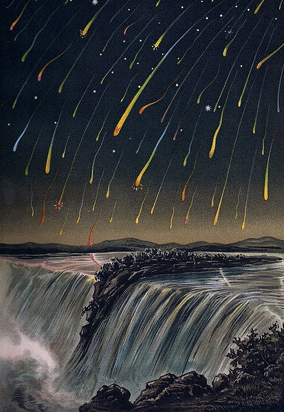 "Woodcut of 1833 meteor shower from an old astronomy guide by E. Weiß: ""Bilderatlas der Sternenwelt."""