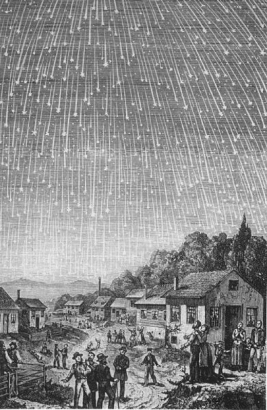 My parents describe the 1966 Leonids meteor shower as looking like a waterfall, very unusual for a meteor shower. (Usually there's just one or two every few minutes.) The 1833 storm was exceptional, but every now and then...