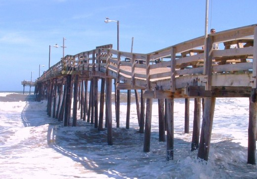 Nags Head, NC Fishing Pier. Note how rickety it looks. This photo was taken right after Hurricane Irene and I wondered about the safety of the structure although staff in the restaurant said it had been inspected and was safe.