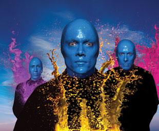 Blue Man Paint Drumming