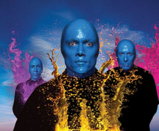Blue Man Paint Drumming