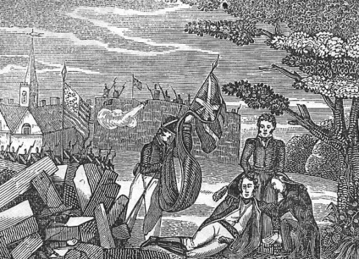 Death of U.S. General Pike at the battle of York, 27 April 1813/La mort du général américain Pike lors de la bataille de York, 27 avril 1813, Can. Mil. Hist. Gateway/Passerelle pour l'histoire militaire canadienne, Dep.of Nat.Def./Min.de la Déf.nat.